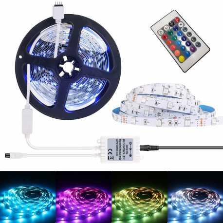 TIRA DE LED MANGUERA LUZ RGB Con MANDO 220V INTERIOR IP65 5 Modos 16 Colores